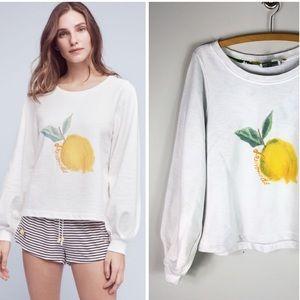 Anthropologie Lemon Lemonade Sweatshirt Pullover